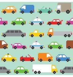 Pixel art traffic seamless pattern vector image vector image