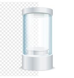 Round Empty Glass Showcase for Exhibit vector image