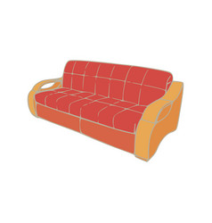sofa red interior furniture room couch isolated vector image vector image