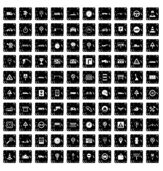 100 traffic icons set grunge style vector