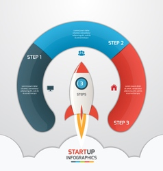 3 steps startup circle infographic with rocket vector