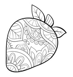 Adult coloring bookpage a cute berry with vector
