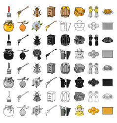 apiary set icons in cartoon style big collection vector image