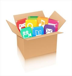 Apps in cardboard box vector