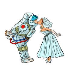 Astronaut groom and bride kiss vector
