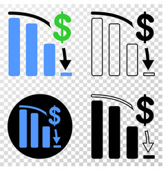 bankruptcy bar chart eps icon with contour vector image