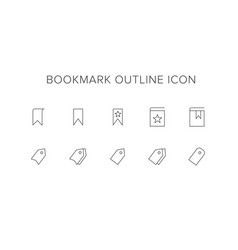 Bookmark line icon set vector