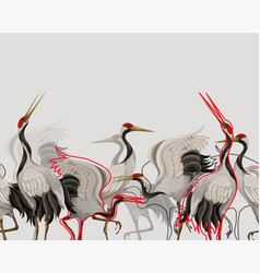 border with japanese white cranes oriental vector image