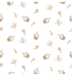 botanical seamless pattern texture with acorns and vector image