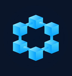 Bright blue block chain icon blockchain vector
