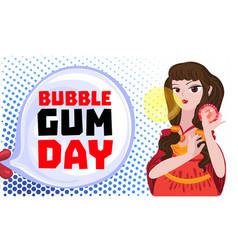 bubble gum day concept banner cartoon style vector image
