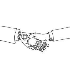 business human and robot handshake vector image