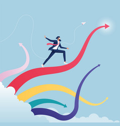 Businessman surfing on upward arrow waves vector