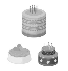Cake and dessert monochrome icons in set vector