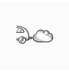 Car spewing polluting exhaust sketch icon vector