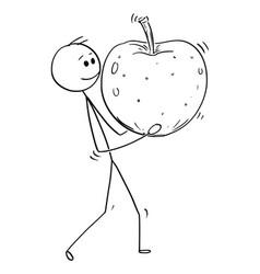 Cartoon of man carrying big ripe apple fruit vector