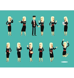 Characters set isolated business woman and man vector image