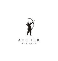 Chinese archer archery warrior bow arrow logo vector