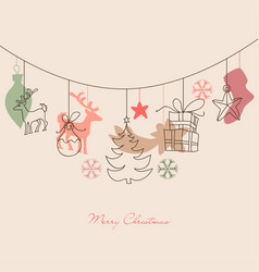 christmas background cute holiday ornaments vector image