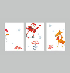 christmas cards set in minimalist style vector image