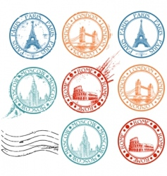 City stamps collection vector