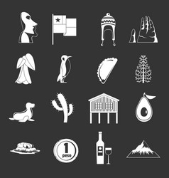 Cjile travel icons set grey vector