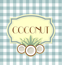 coconut label on squared background vector image