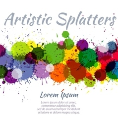 Colorful watercolor paint stains abstract art vector