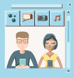 couple with smartphone social media icons vector image