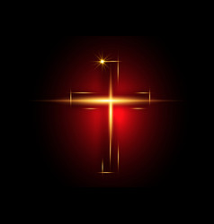 Cross light shiny cross with golden frame vector