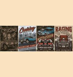 custom cars vintage posters set vector image