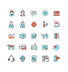 Customer service call center flat icons vector