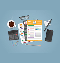 cv workplace with coffee vector image