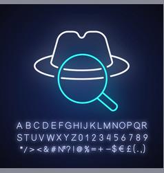 Detective neon light icon vector