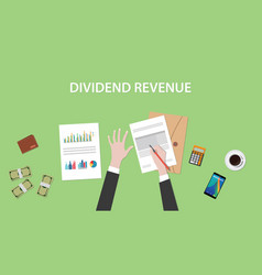 Dividend revenue with a man signing vector
