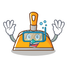 diving dustpan character cartoon style vector image