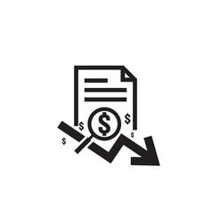 dollar arrow decrease rate icon money arrow vector image