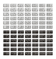 Domino black and white set vector image