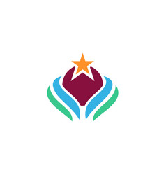 ecology planet star logo vector image