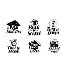 Education set labels or icons school college vector