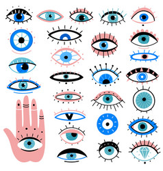 Evil eyes hand drawn various talismans different vector