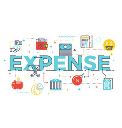 expense word lettering vector image