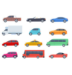 flat cars set taxi and minivan cabriolet and vector image