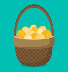 Flat eggs in wicker basket vector