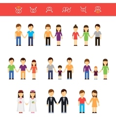 Flat of same-sex couples male vector