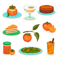 Flat set of persimmon desserts and drinks vector