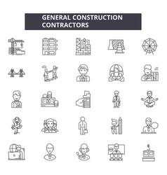 General construction contractors line icons signs vector