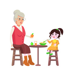 grandmother and dining time vector image