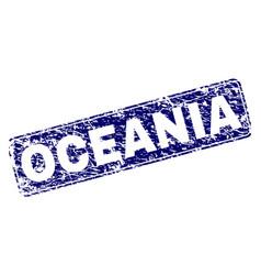 Grunge oceania framed rounded rectangle stamp vector
