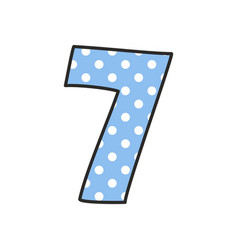 hand drawn number 7 with polka dots on pastel blue vector image